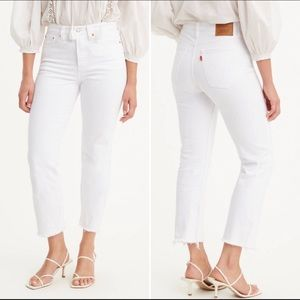 NWT Levi's White Wedgie Fit Straight Raw Hem Jeans